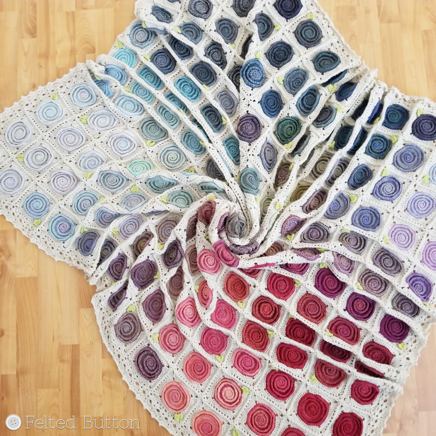 Felted Button Colorful Crochet Patterns Sweven Throw Crochet