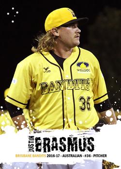 Australian Custom Baseball Cards: Justin Erasmus - 2016-17 ...