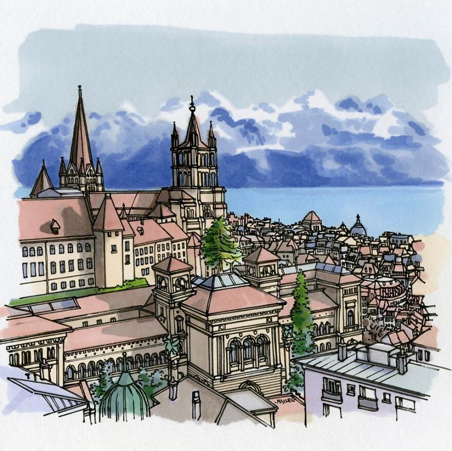 13 Artistic Illustrations Of Famous Places Around The World - Lausanne, Switzerland