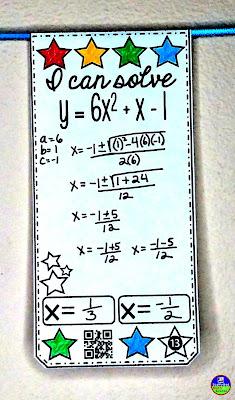 quadratic formula pennant activity