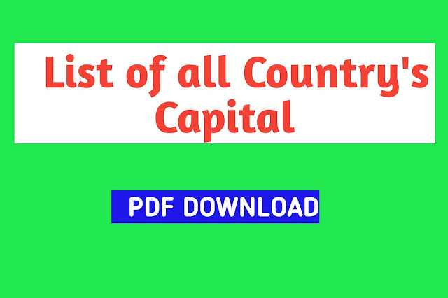List of Country with their Capital, Currency and Languages||Capital&Coins name of All Country in Bengali Language pdf