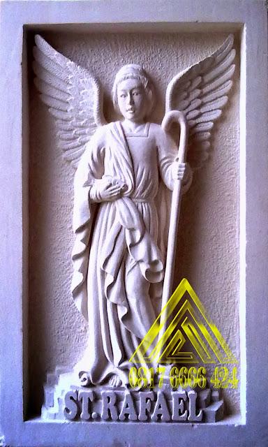 Relief batu alam paras jogja, paras putih ST RAFAEL