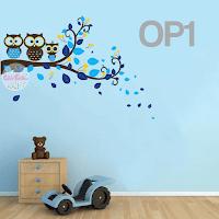 vinilo decorativo infantil buhos rama decoracion dormitorio habitacion bebe pared