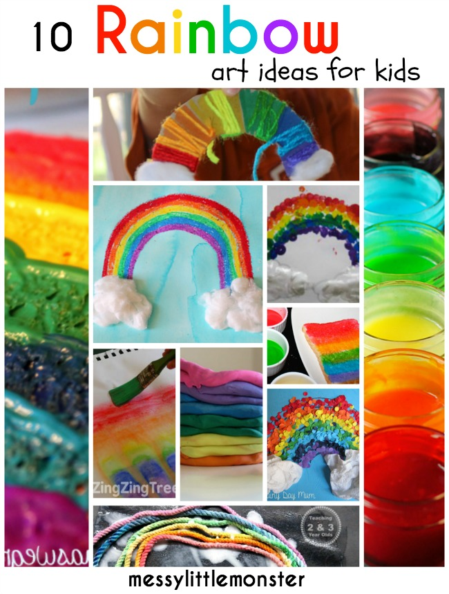Rainbow art ideas for kids messy little monster Fun painting ideas for toddlers