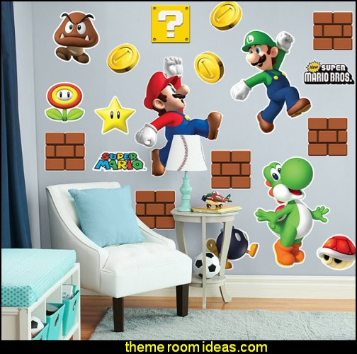 Mario Bros Room Decor - Giant Wall Decals Combo Kit Gamer bedroom - Video game room decor - gamer bedroom furniture - gamer wall decal stickers - Super Mario Brothers Wall Stickers