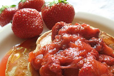 Strawberry-Rhubarb Cottage Cheese Pancakes