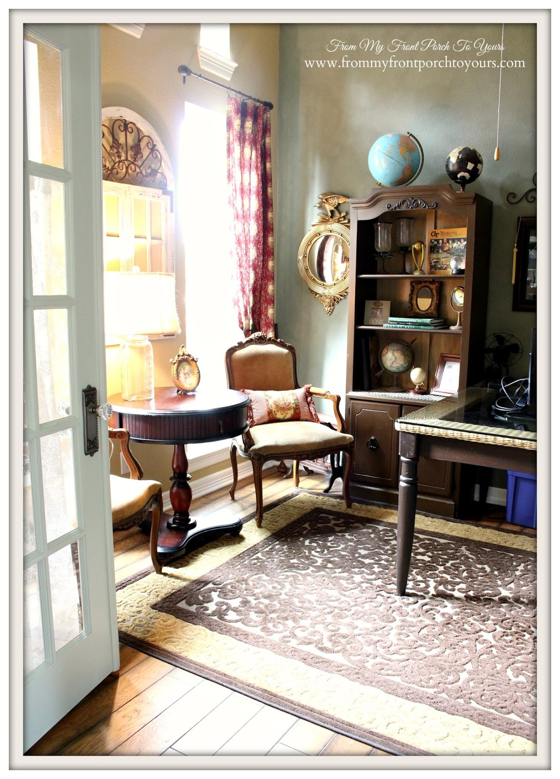 country home office. federal mirrorfrench provincial chairsfrench country home office from my front porch f