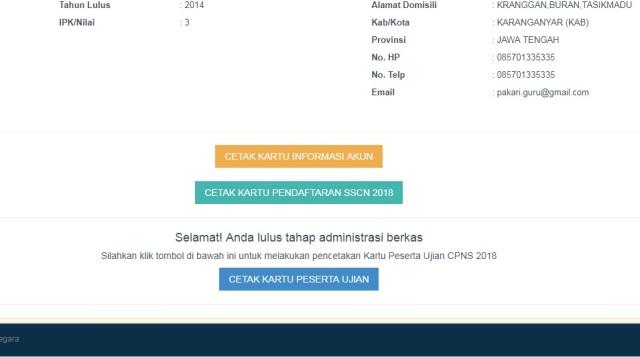 Keterangan Lulus Seleksi Administrasi di Portal Web SSCN BKN