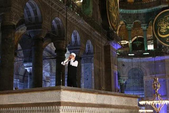 Setelah 85 Tahun, Adzan Kembali Terdengar dari Dalam Hagia Sophia