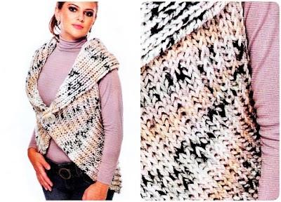 Chaleco circular lana jaspeada tricot