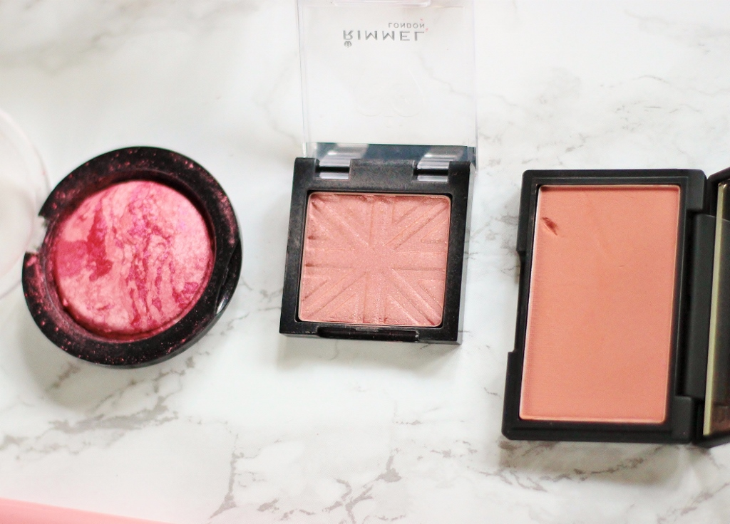 makeup revoluution loved me the best, rimmel blush pink rose, sleek blush in suede review and swatches