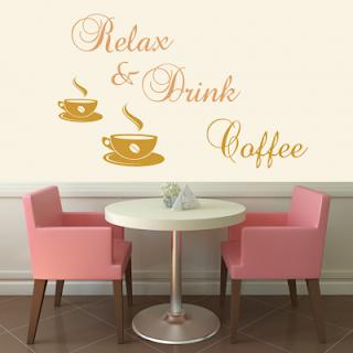 Decoreaza-ti peretele cu sticker Relax Coffee comanda aici