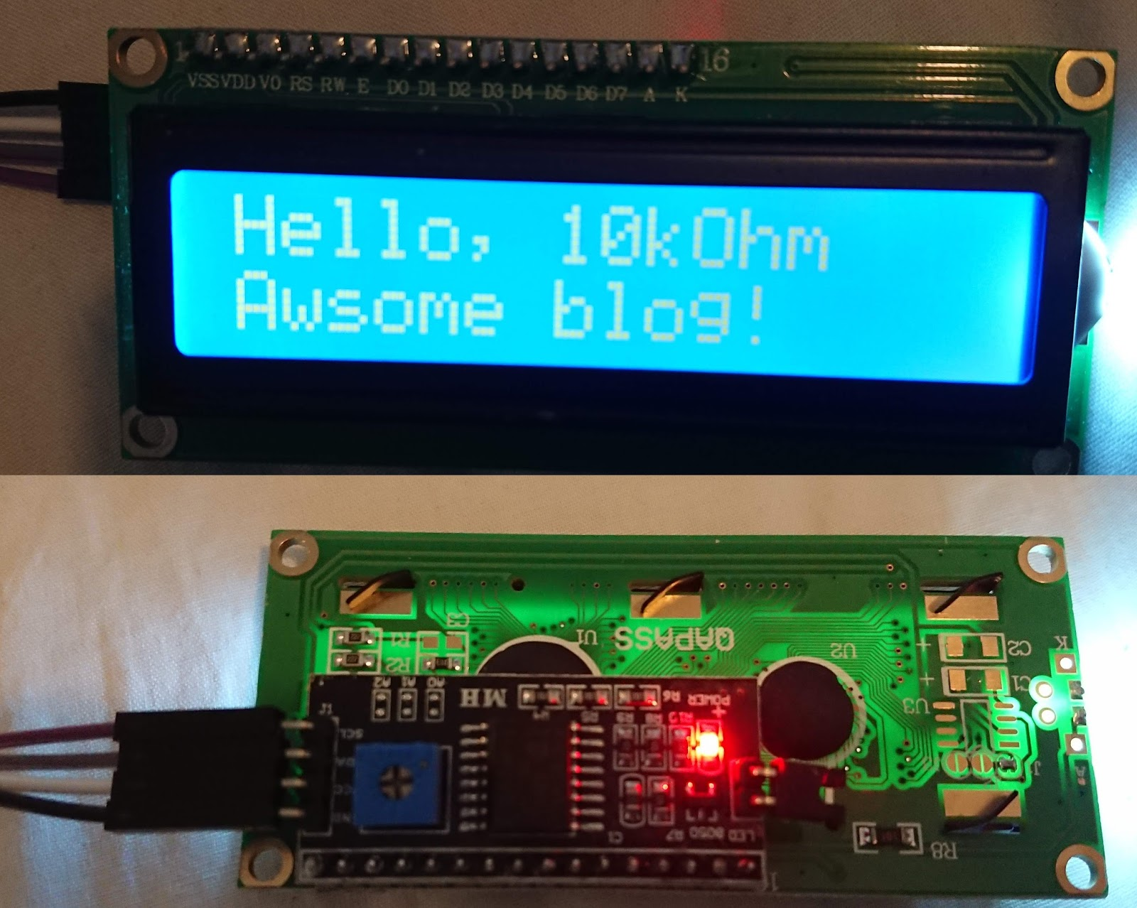 10 kΩ: Cheap LCD 16x2 characters, with I2C LCD1062 interface