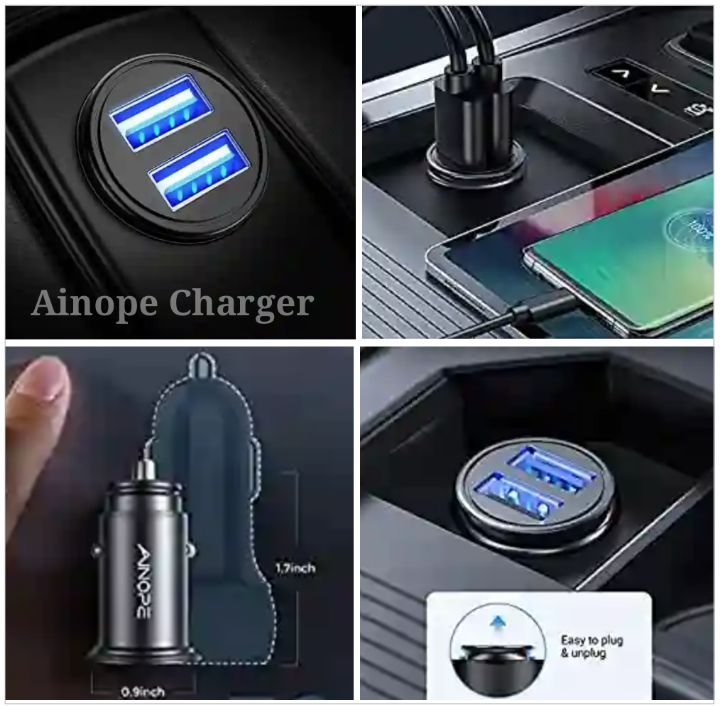 Ainope Car Charger with Dual-USB Ports for Charging Mobile Devices and Gadgets - 4.8A Fast Charger
