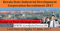 Kerala State Industrial Development Corporation Recruitment 2017– Stenographer