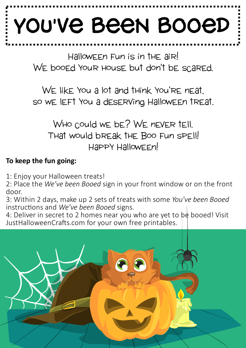 Free Printable You Ve Been Booed Poem Sign