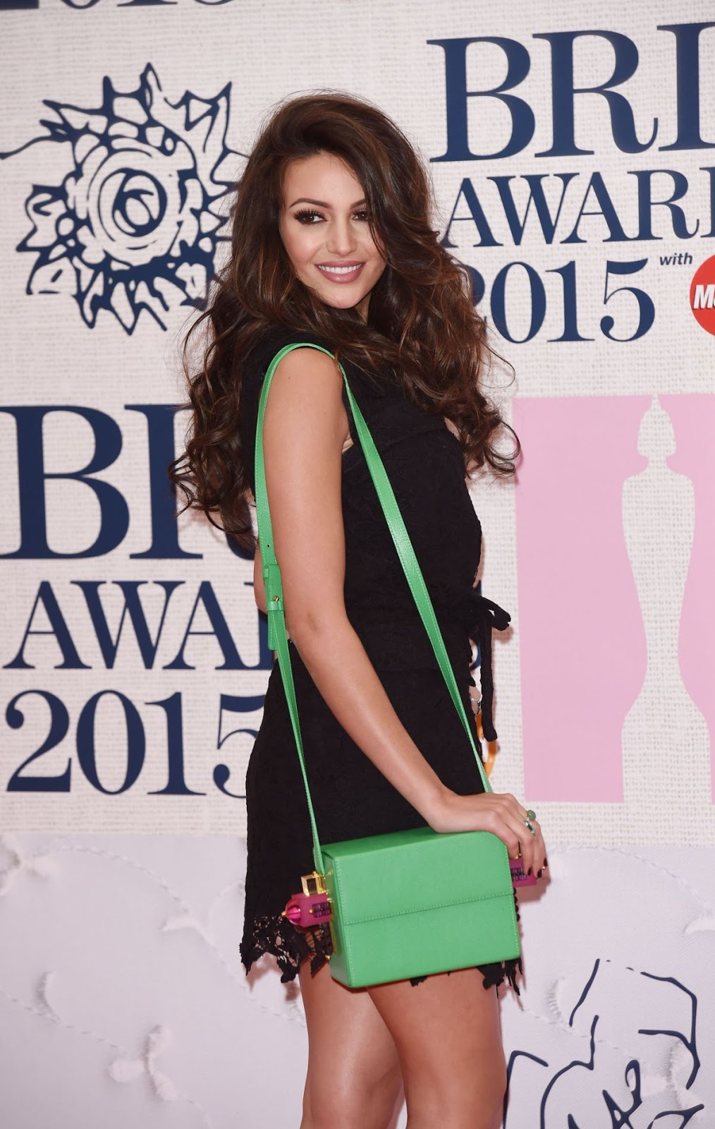 Full HD Photos of Michelle Keegan in black dress At Brit Awards 2015 In London