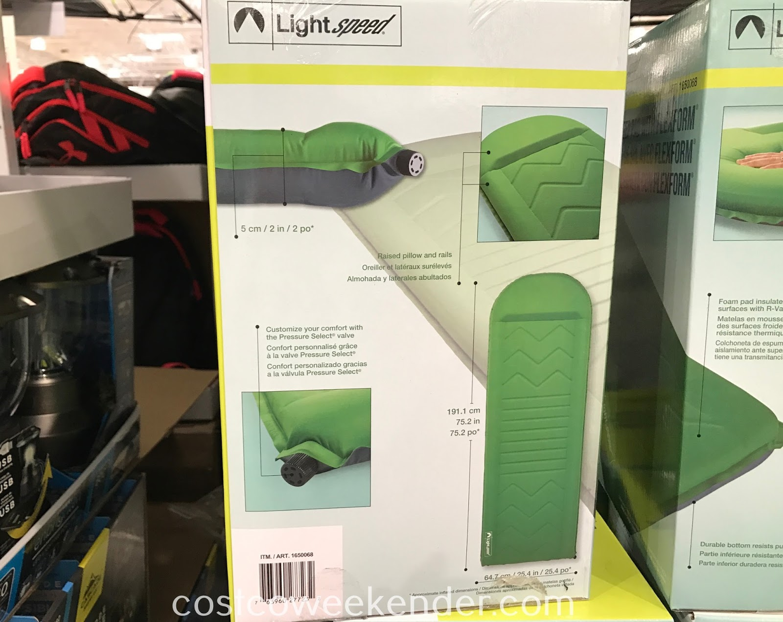 Costco 1650068 - Enjoy the best night's sleep ever, indoors or out with the Lightspeed Self-Inflating Sleep Pad with FlexForm