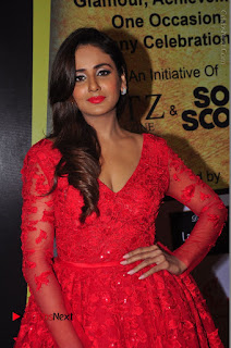 Actress Model Parul Yadav Stills in Red Long Dress at South Scope Lifestyle Awards 2016 Red Carpet  0044.JPG