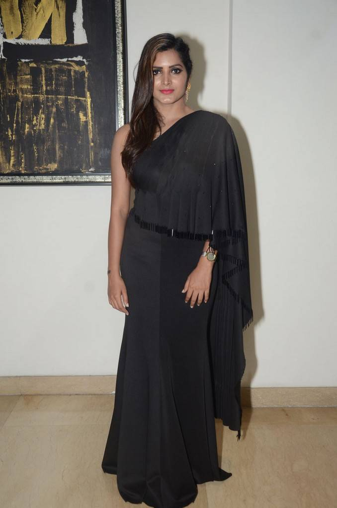 Telugu Girl Pavani Gangireddy Long Hair Stills In Long Black Dress