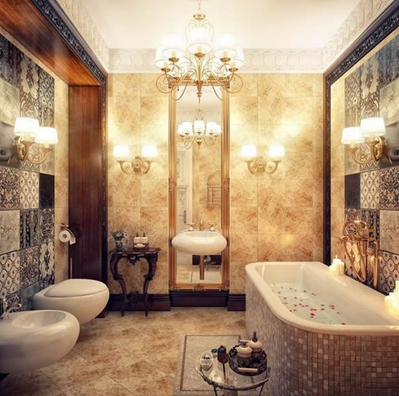 Combination of patterned tiles and decorative lamps.