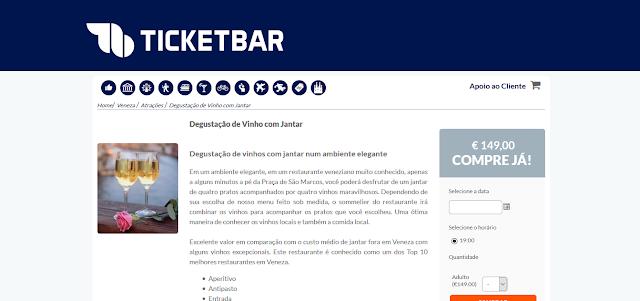 Ticketbar para ingressos para uma degustação de vinho com jantar em Veneza