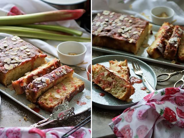 Rhabarber-Apfel Kuchen mit Erdbeer-Rhabarber Sauce
