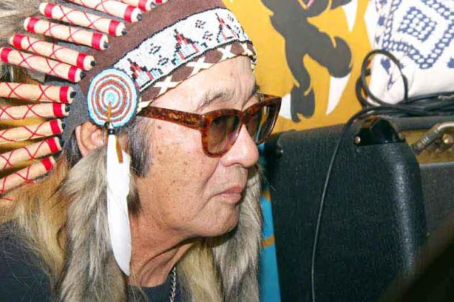 Tomomi, drummer, American Indian headwear