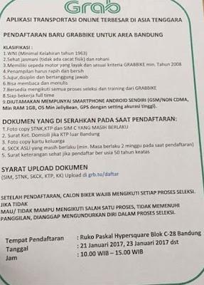 Cara Daftar Lowongan Grabbike Bandung