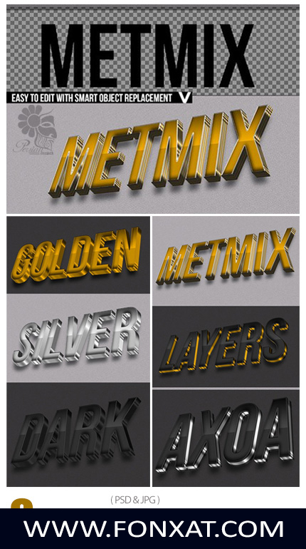 Download PSD three dimensional text effects