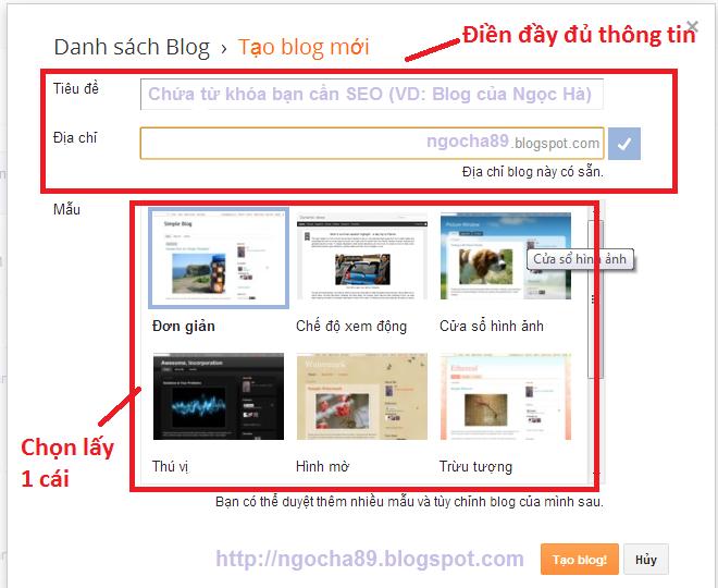 huong dan cach tao blogspot moi nhat