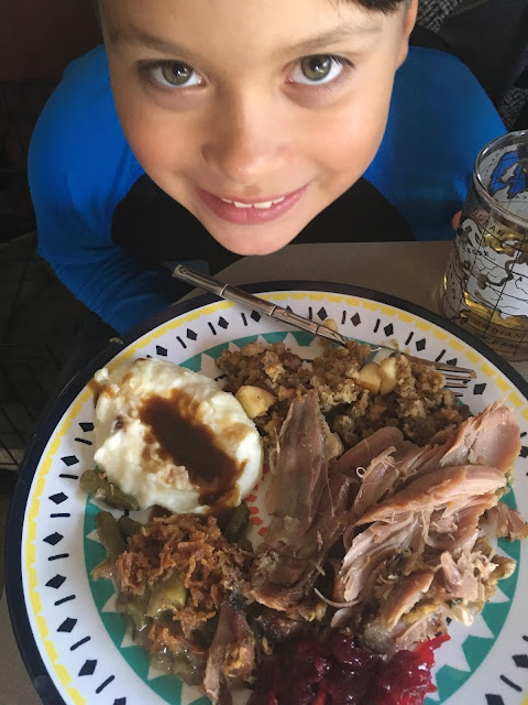 Reno about to enjoy his Thanksgiving meal