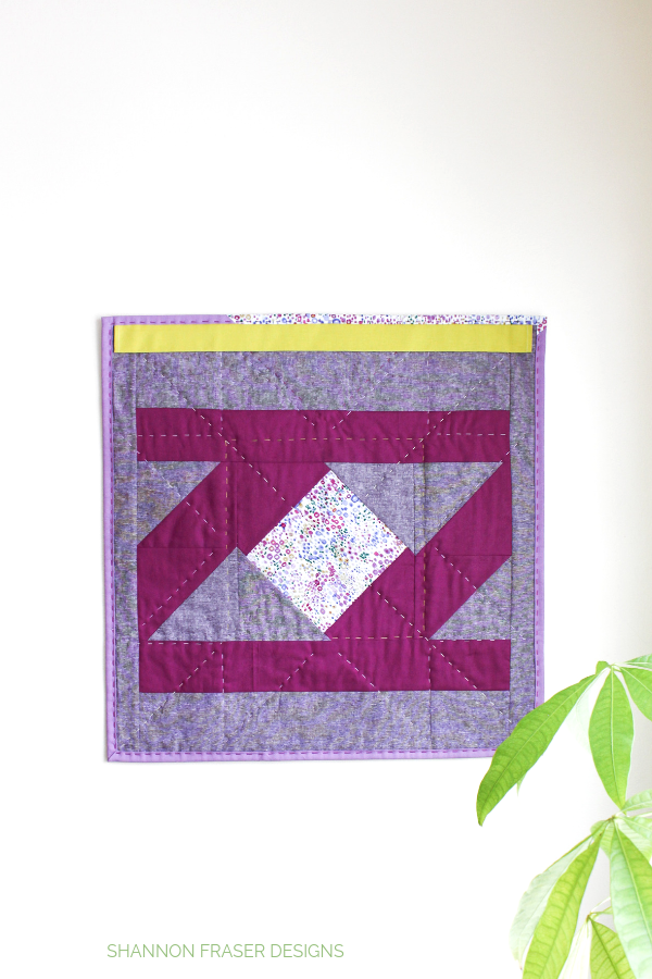 Backside of Indian Star Mini Quilted Wall Hanging | Quilt Big Blog Hop | Shannon Fraser Designs