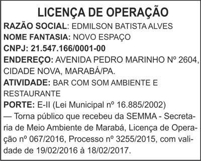 LICENÇA DE OPERAÇÃO -- NOVO ESPAÇO / MARABÁ-PA