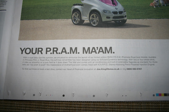 BMW April Fools Day 2013 Pram text