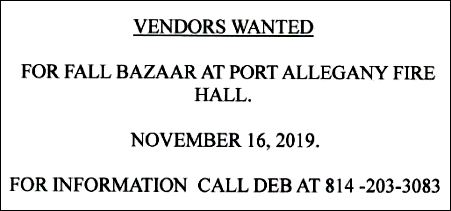 11-16 Vendors Wanted, Port A Fire Hall