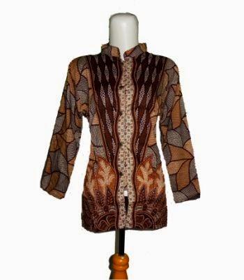 blus batik kerah shanghai coklat
