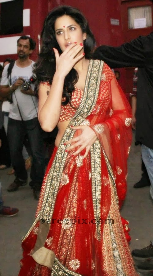 Katrina Kaif In Red Lehenga At Mehboob Studios In Mumbai