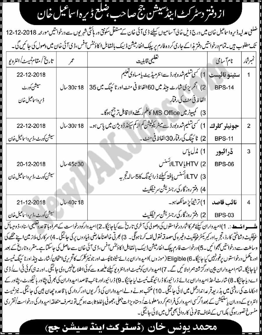 District and Session Judge DI Khan Jobs November 2018