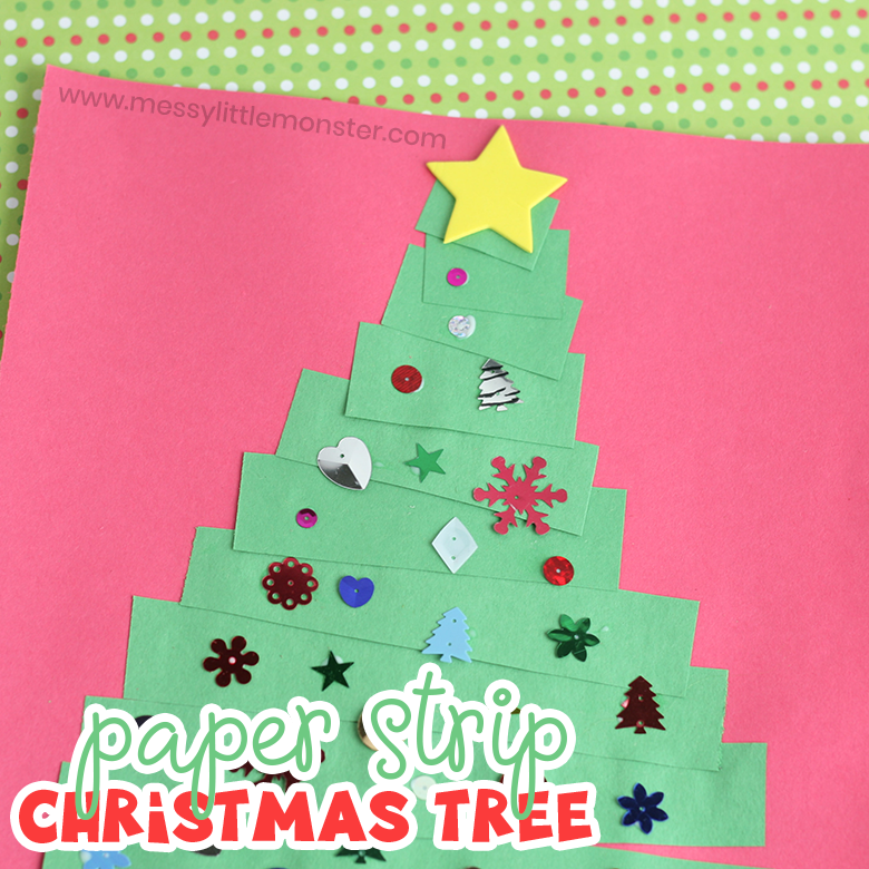 Toddler Christmas Card - Paper Strip Christmas Tree Craft