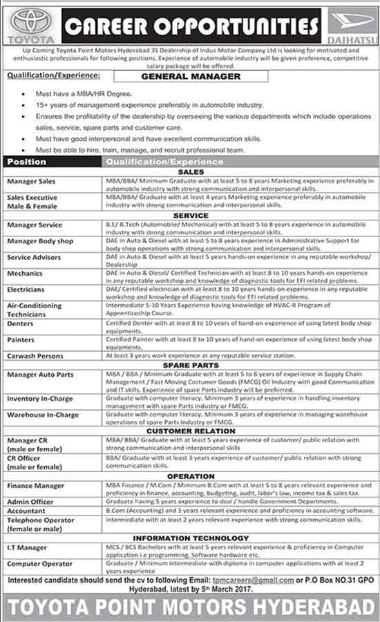 Toyota Point Motors Hyderabad Jobs Indus Motor Company Ltd
