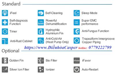 Thống số kỹ thuật Điều hòa Casper 2 Chiều tiêu chuẩn chạy Gas R410A
