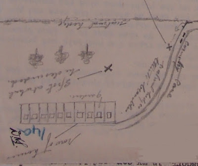 Close-up of MI5 sketch map showing location of houses, Richter's landing site and equipment stash. (National Archives - KV 2/30)