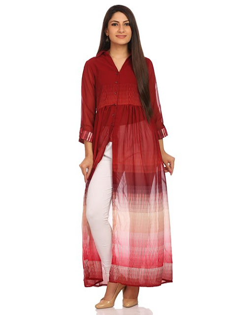 Red Poly Cotton Straight Dress