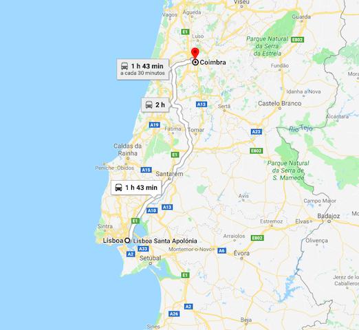 Mapa da viagem de Lisboa a Coimbra