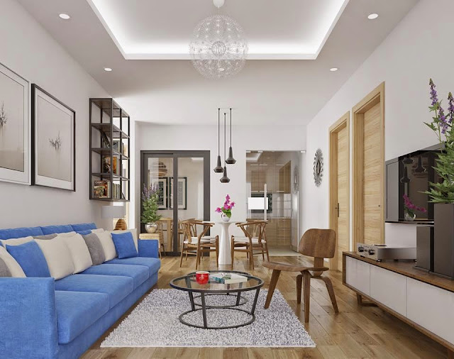Hình ảnh bàn ghế phòng khách nhỏ có thể thiết kế với kiểu dáng sofa văng hay sofa chữ L đều được