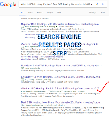 Search Engine Results Page or  SERP