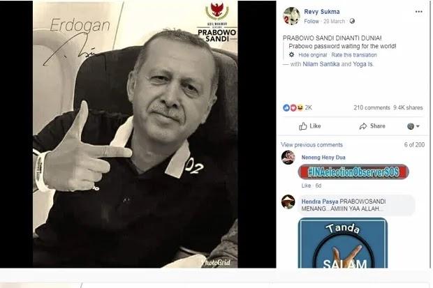 Erdogan Dukung Prabowo Adalah Hoaks, Begini Penjelasannya