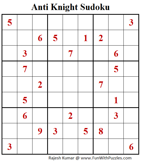 Anti Knight Sudoku Puzzle (Fun With Sudoku #365)