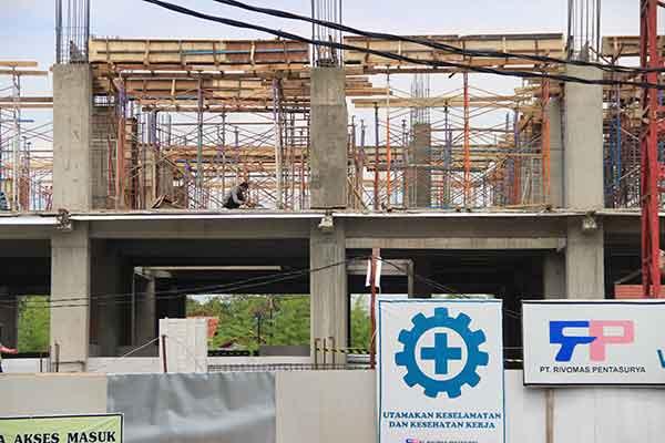 gedung setda kota cirebon baru sampai kerangka konstruksi